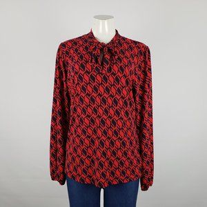 Michael Kors Red & Navy Long Sleeve Top Size L